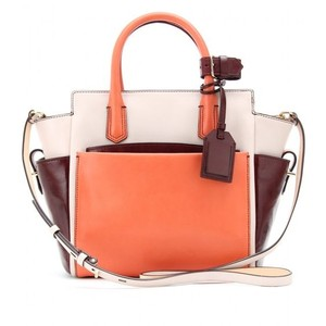 Reed Krakoff Krakoff Atlantique Mini Altantique Burgundy Tote in Coral Brown Colorblock