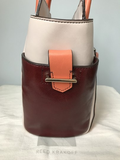 Reed Krakoff Atlantique Mini Altantique Burgundy Tote in Brown Coral Colorblock