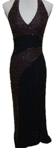 Oleg Cassini Halter 100%silk Beaded Dress