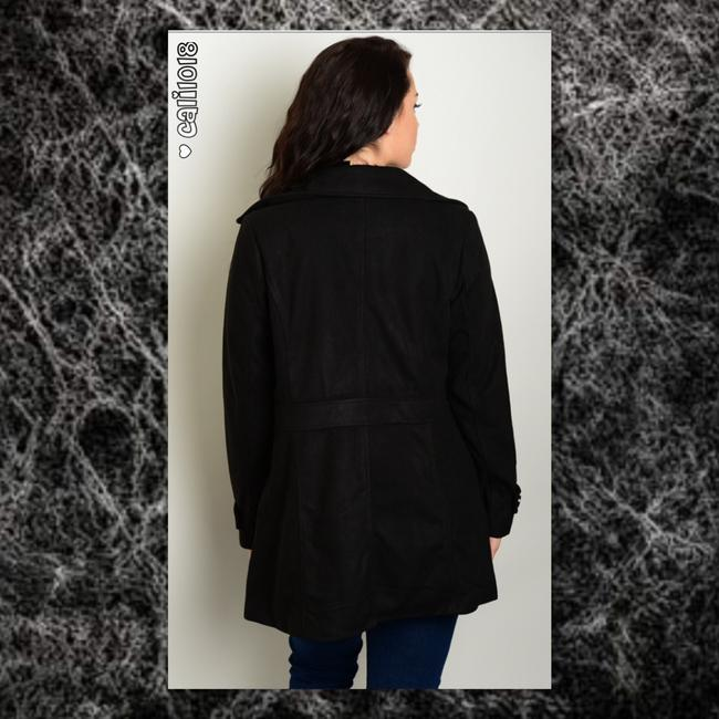Other Plus Size Button Lined Curvy Long Pea Coat