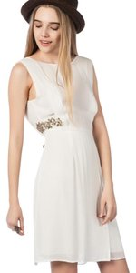 Zara short dress cream Floral Gold Hardware Embroidered on Tradesy