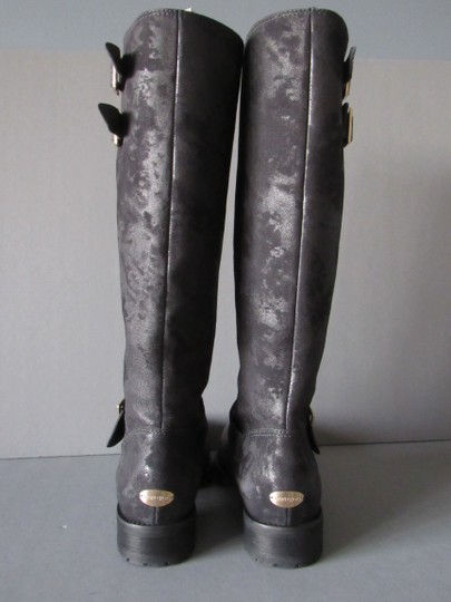 Jimmy Choo Tall Knee High Leather Moto With Box Charcoal Boots