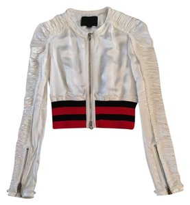 Alexander Wang Ruched Bomber Crop White Jacket