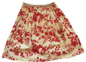 Anthropologie Skirt Red and off white