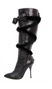 Roberto Cavalli Leather Black Boots