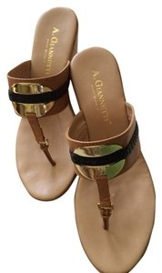 A. Giannetti 7 Leather Italian Wedges Silver Plated Heels Black Tan Sandals