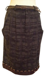 Marni Embellished Wool Pencil Fitted Skirt Burgundy, Grey