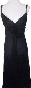 Black Maxi Dress by Zara Silk V-neck Plunge
