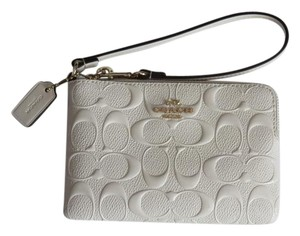Coach Patent Leather Wristlet in Ivory, Chalk