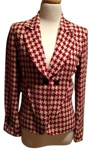 Sonia Rykiel Wool Houndstooth Fitted Paris Red and Cream Blazer