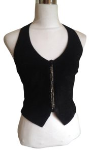 Cache Embellished Suede Black Halter Top