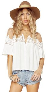 For Love & Lemons Carmine Crop Festival Top White