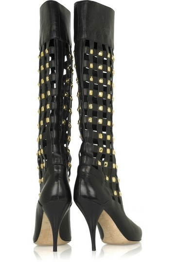 Oscar de la Renta Leather Black Boots