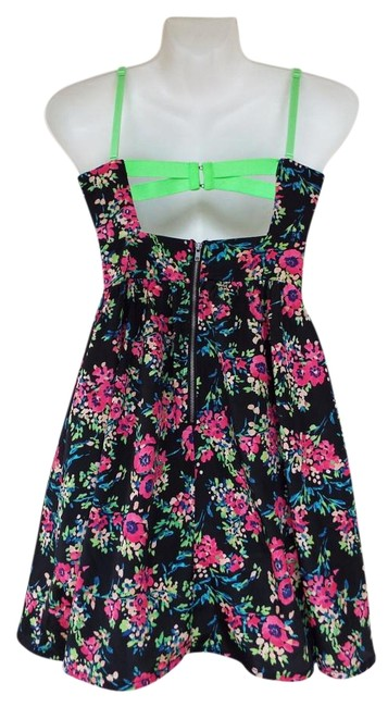 Preload https://img-static.tradesy.com/item/19810741/material-girl-green-black-pink-blue-orange-floral-cut-out-bustier-hooks-neon-fit-and-flare-short-coc-0-1-650-650.jpg