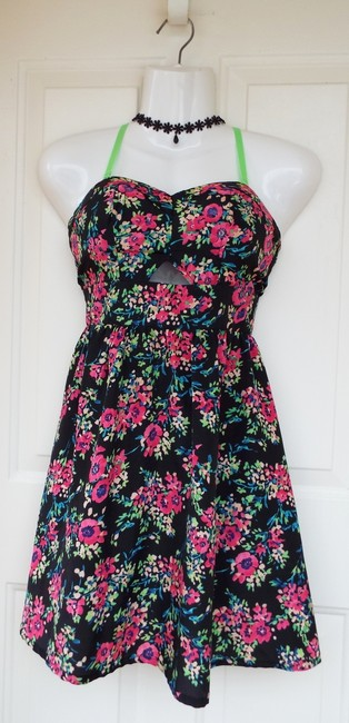 Material Girl Floral Cut-out Neon Bustier Hooks Dress