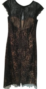 Monique Lhuillier Lace Leopard Print Lining Dress