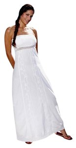 White Maxi Dress by Lirome Crochet Unique Cottage Chic Western