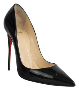 Christian Louboutin Patent Leather Pointed Toe Red Sole Black Pumps
