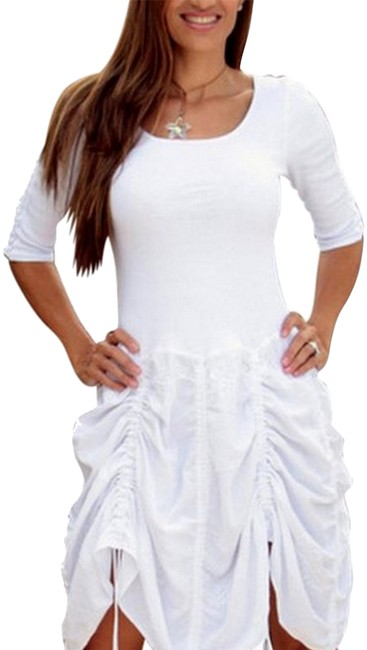 Preload https://item3.tradesy.com/images/lirome-white-thalia-organic-cotton-ruched-skirt-mid-length-short-casual-dress-size-4-s-19810987-0-5.jpg?width=400&height=650