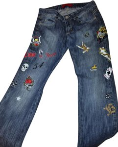 Just for You Patch Embroidered Embellished Boyfriend Cut Jeans-Medium Wash