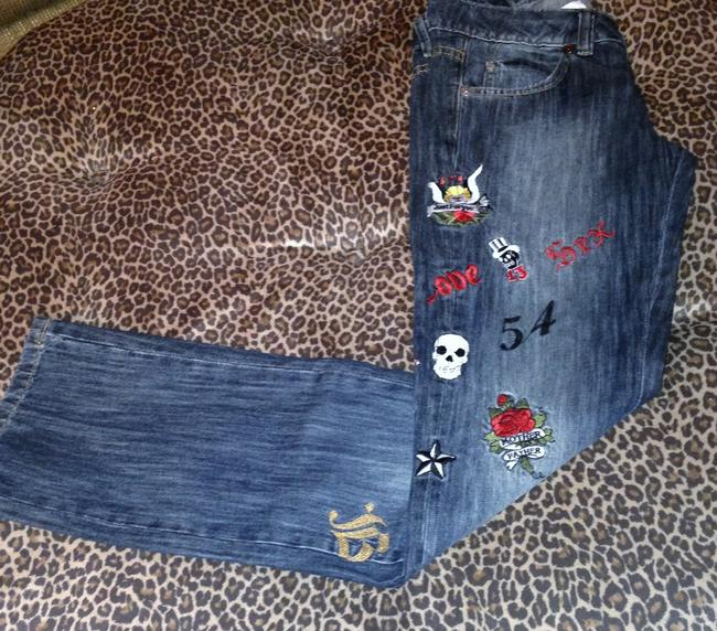 Just for You Embroidered Embellished Custom Cool Girl Straight Leg Jeans-Medium Wash