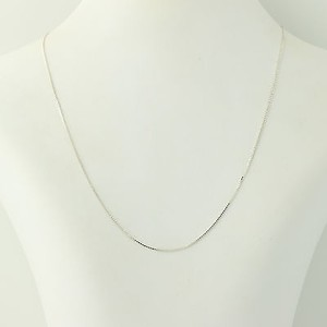 Box Chain Necklace - Sterling Silver 925 Italy 18 0.9mm Womens