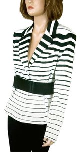 The Limited Belted Striped Black/White Blazer