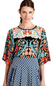Anthropologie Anthroplogies Silk Top Blue Multi