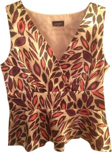 Nine West Peplum Suit Satin Top Animal Print Feathers