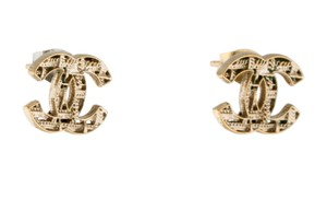 Chanel Gold-tone Chanel mirrored interlocking CC logo stud earrings