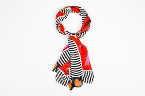 Moschino Moschino Red Multicolor Silk Chiffon Character Print Rectangle Scarf