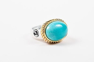 David Yurman David Yurman Sterling Silver 14k Gold Turquoise Oval Cable Ring