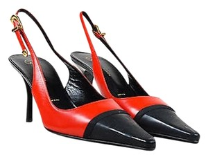 St. John Crimson Black Leather Red Pumps
