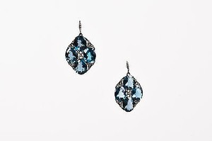 Other 18k Blackened Gold London Blue Topaz Diamond Drop Earrings