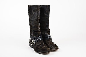 B Brian Atwood Leather Green Boots
