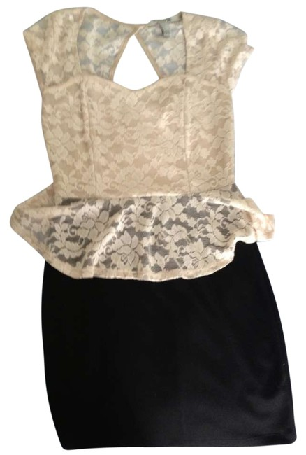 Preload https://item5.tradesy.com/images/forever-21-blackcream-peplum-w-lace-above-knee-cocktail-dress-size-4-s-198114-0-0.jpg?width=400&height=650