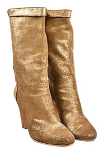 Chanel Metallic Leather Rounded Toe Tone Cc Heeled Gold Boots
