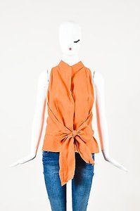 Max Mara Linen Belted Top Orange