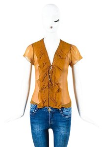 Prada Sheer Chiffon Top Amber