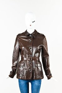 Barneys New York Leather Brown Jacket