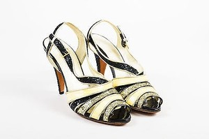 Miu Miu Black Cream Silver Gold Sandals