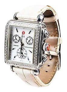 Michele Michele Stainless Steel Pave Diamond White Mop Deco Chronograph Watch