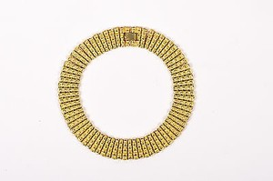 Vintage Gold Tone Textured Bamboo Link Collar Necklace