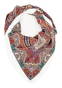 Saint Laurent Yves Saint Laurent White Multicolor Paisley Print Square Oversized Square Scarf