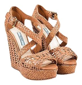Prada Leather Woven Peep Tan Sandals
