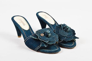Chanel Denim Camellia Blue Sandals