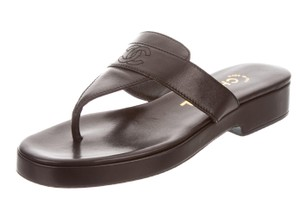 Chanel Patent Leather Black, Silver Sandals