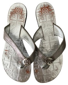 Tory Burch Logo Monogram Silver Sandals