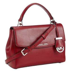 Michael Kors Purse Red Satchel in Cherry Red/Silver Hardware