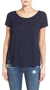 Hinge Hl330558mi Knit New With Tags Rayon Top Navy Blue